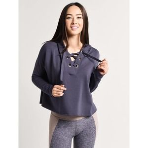 Beyond Yoga Over Tied Cropped Pullover Amethyst